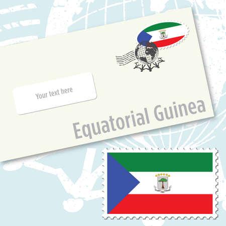 guinea equatoriale: Equatorial Guinea country flag stamp and envelope design