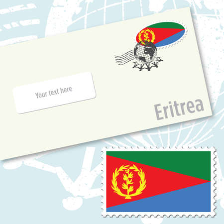 Eritrea country flag stamp and envelope design