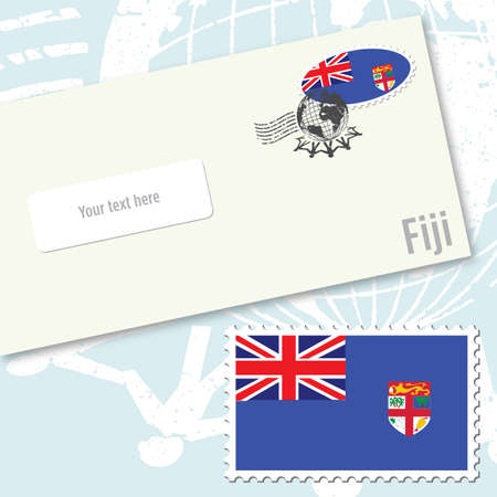 Fiji country flag stamp and envelope design
