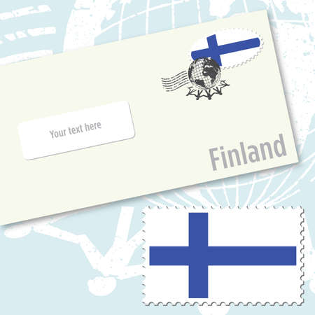 Finland country flag stamp and envelope design