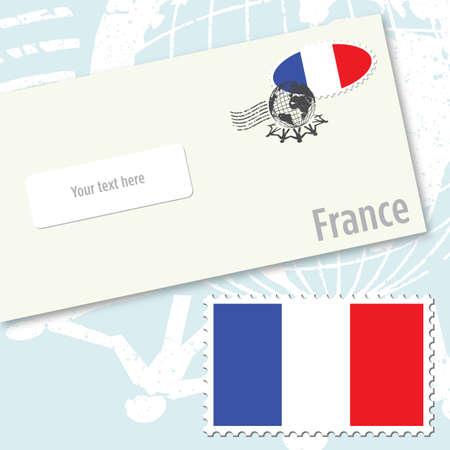 France country flag stamp and envelope design  イラスト・ベクター素材