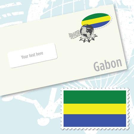 envelope design: Gabon country flag stamp and envelope design
