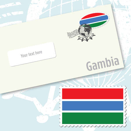 gambia: Gambia country flag stamp and envelope design Illustration