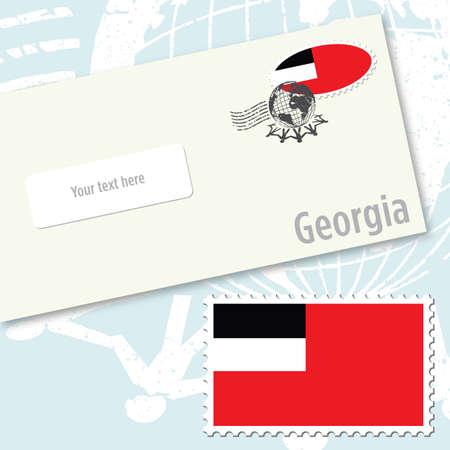 Georgia country flag stamp and envelope design Ilustracja