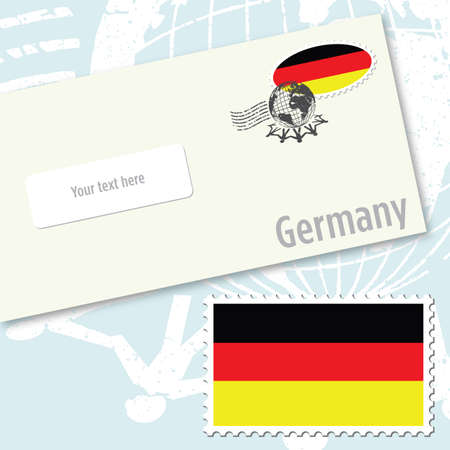 Germany country flag stamp and envelope design Vector