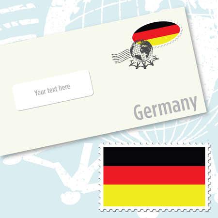 envelope design: Germany country flag stamp and envelope design