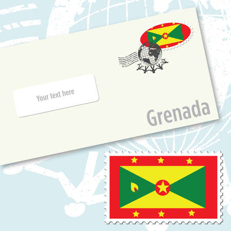 Grenada country flag stamp and envelope design Ilustracja