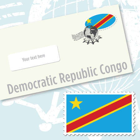 Democratic Republic Congo country flag stamp and envelope design