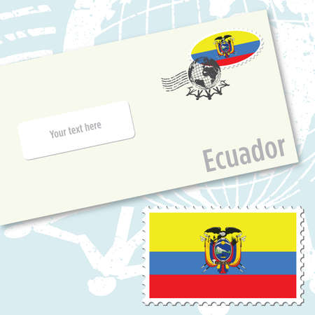 Ecuador country flag stamp and envelope design