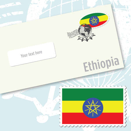 Ethiopia country flag stamp and envelope design Ilustracja