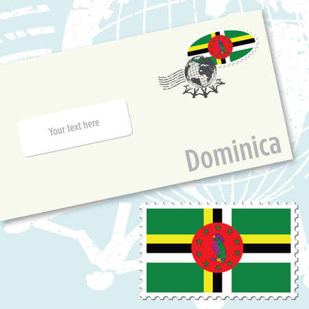 envelope design: Dominica country flag stamp and envelope design