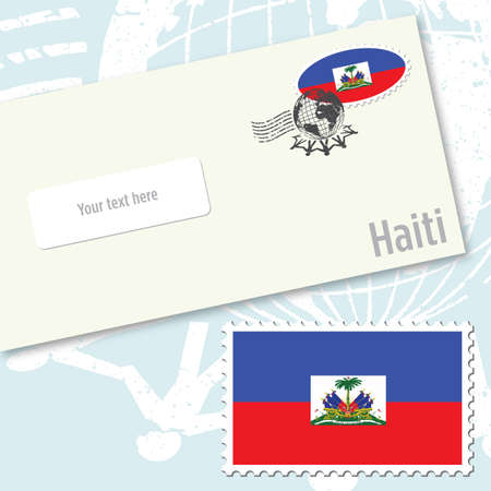 envelope design with country flag stamp and postal stamping