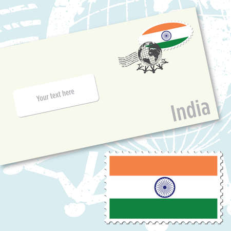 India envelope design with country flag stamp and postal stamping Illustration