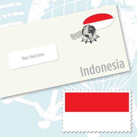 インドネシア封筒デザイン国旗スタンプおよび郵便スタンプ