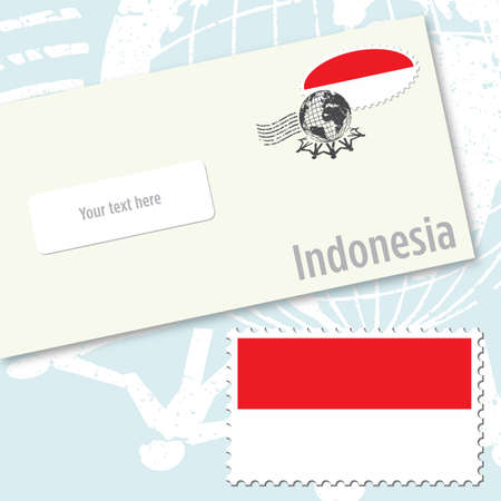 indonesien: Indonesien Umschlagdesign mit Land-Flag Stempel und postalische Stanzen Illustration