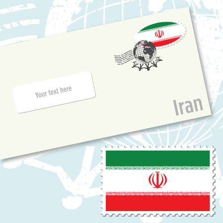 Iran, envelope design with country flag stamp and postal stamping