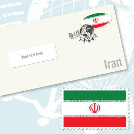 envelope design: Iran, envelope design with country flag stamp and postal stamping