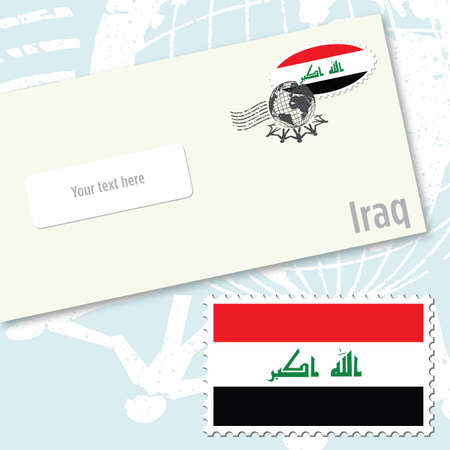 Iraq, envelope design with country flag stamp and postal stamping