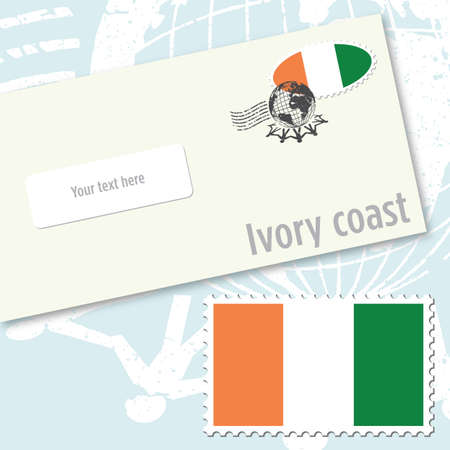 Ivory Coast envelope design with country flag stamp and postal stamping