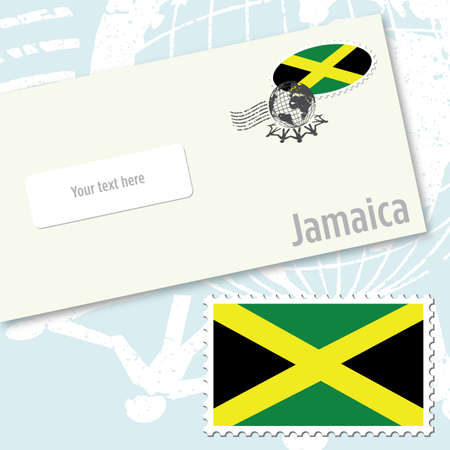 Jamaica envelope design with country flag stamp and postal stamping Vettoriali