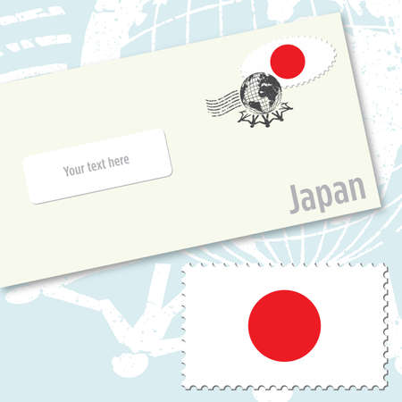 Japan envelope design with country flag stamp and postal stamping