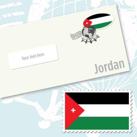 Jordanië envelop ontwerp met land vlagstempel en poststempelen
