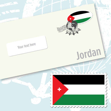 Jordan envelope design with country flag stamp and postal stamping Vettoriali