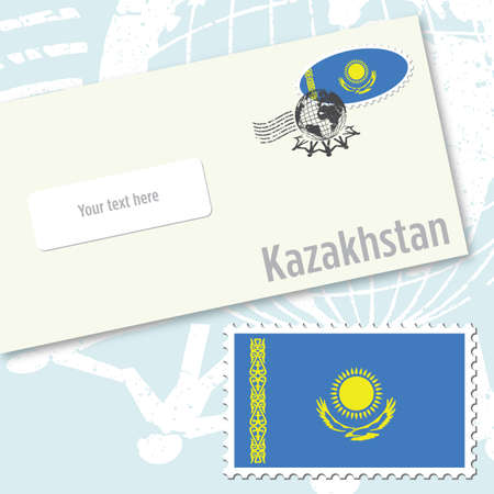 Kazakhstan envelope design with country flag stamp and postal stamping