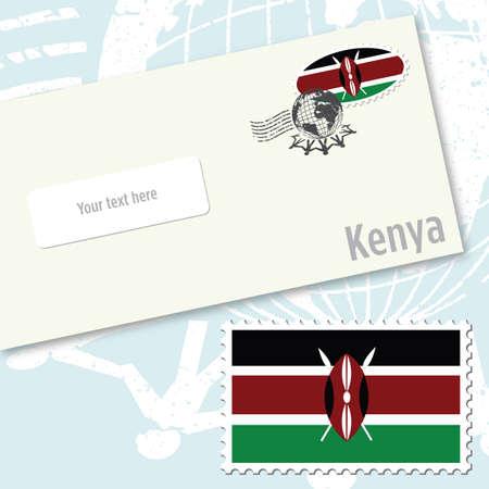 Kenya envelope design with country flag stamp and postal stamping