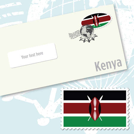 kenya: Kenya envelope design with country flag stamp and postal stamping