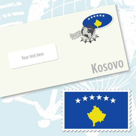 Kosovo envelope design with country flag stamp and postal stamping