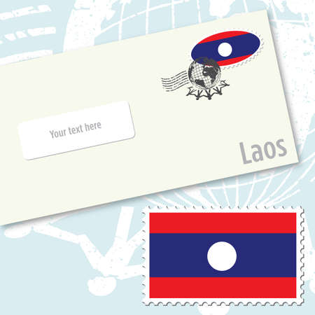 Laos envelope design with country flag stamp and postal stamping