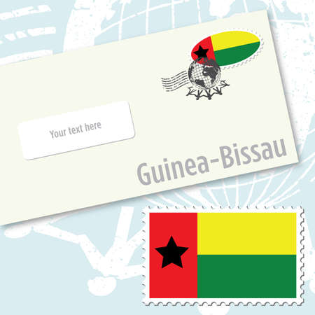 Guinea-Bissau envelope design with country flag stamp and postal stamping