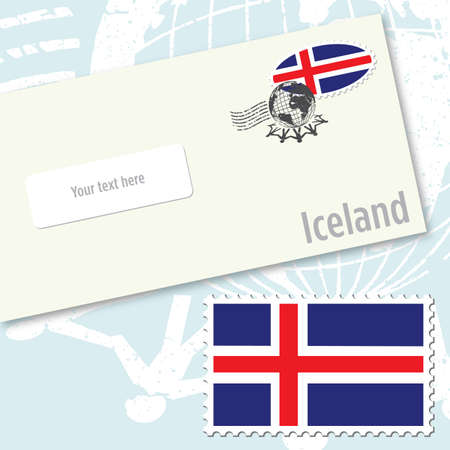 Iceland envelope design with country flag stamp and postal stamping Vettoriali