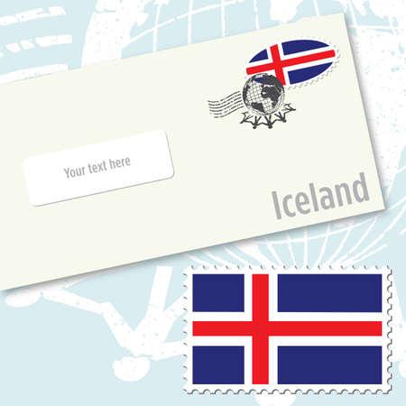 Iceland envelope design with country flag stamp and postal stamping Illusztráció