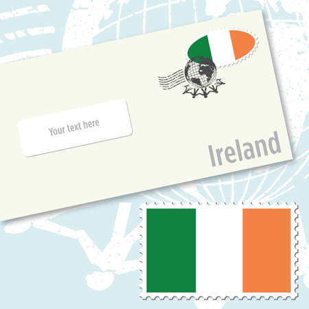 Ireland envelope design with country flag stamp and postal stamping