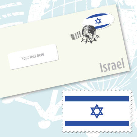 jewish: Israel envelope design with country flag stamp and postal stamping