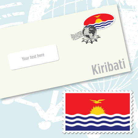 oceania: Kiribati envelope design with country flag stamp and postal stamping