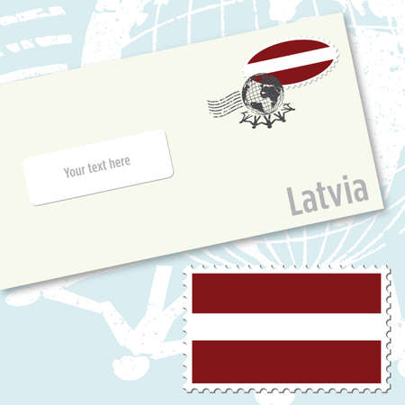 Latvia envelope design with country flag stamp and postal stamping Illusztráció