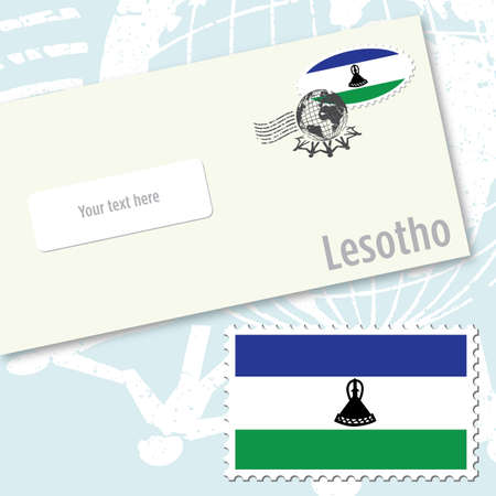 Lesotho envelope design with country flag stamp and postal stamping