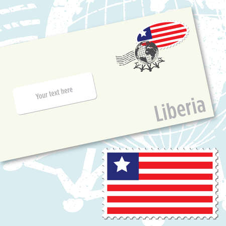 Liberia envelope design with country flag stamp and postal stamping