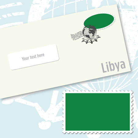 Libya envelope design with country flag stamp and postal stamping Stock Vector - 9082234