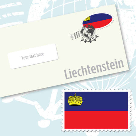 Liechtenstein envelope design with country flag stamp and postal stamping