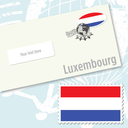 Luxembourg envelope design with country flag stamp and postal stamping Vector