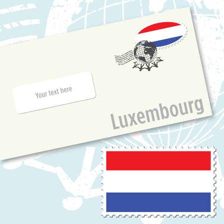 Luxemburg envelopontwerp met land vlag stempel en post stempelen