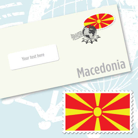 Macedonia envelope design with country flag stamp and postal stamping