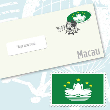 Macau envelope design with country flag stamp and postal stamping