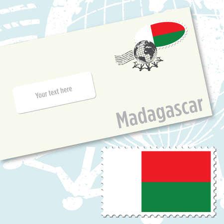 east indian: Madagascar envelope design with country flag stamp and postal stamping Illustration
