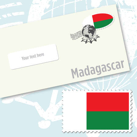 Madagascar envelope design with country flag stamp and postal stamping Vettoriali