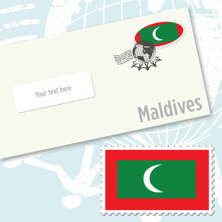 Maldives envelope design with country flag stamp and postal stamping
